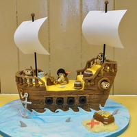 Pirate Ship With Hedgehog Crew Chocolate fudge cake with chocolate buttercream and fondant. I was a little daunted when asked for a pirate ship with a crew of hedgehogs...