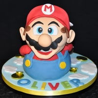 Super Mario Madeira cake with buttercream and fondant.