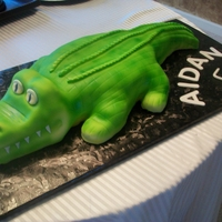 Go Away Gator! Didn't mean for it to be...but the person wanted a cartoon-looking alligator for her son's birthday....doesn't it look like...