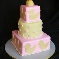 Ducky Baby Shower Buttercream cake with fondant accents and fondant duck