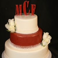 Maroon And White 5 Bead Wedding Cake