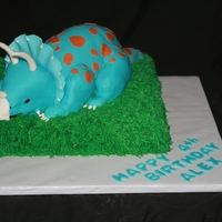 Dinosaur Cake Dinosaur is cake that was shapped into dinosaur with rice krispies for the tail, arms and legs.