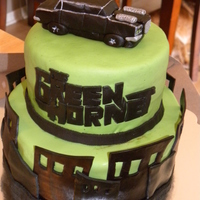 Green Hornet Modeling chocolate and fondant decorations.