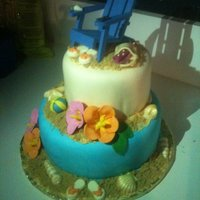 Beach Theme. Had so much fun doing this Beach themed cake. Fondant covered, Gumpaste flowers. TFL