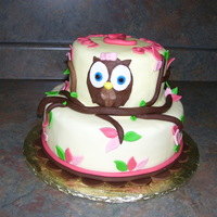 Owl 1St Birthday Cake Owl 1st Birthday cake. All fondant covered. White and chocolate cakes. TFL