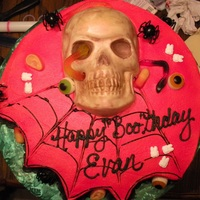 Happy Boo Thday! The skull is made out of white chocolate.