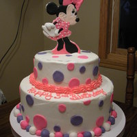 Minnie Mouse Birthday Cake I made Minnie out of gum paste and put her on a dowel. The cake is iced in buttercream and decorated with fondant.