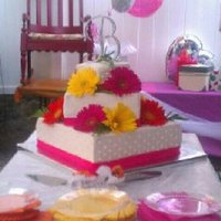 Summer Wedding *Summer wedding cake. Gerber daisy, monogram, square, fondant and buttercream