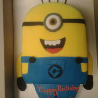 Minion Birthday Cake Despicable me minion cake. Fondant work