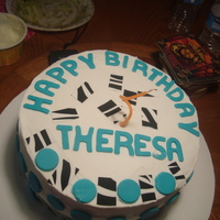 Birthday Cake Birthday cake with zebra and turquoise