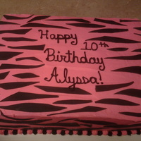 Pink Zebra Cake Pink buttercream with black fondant zebra stripes