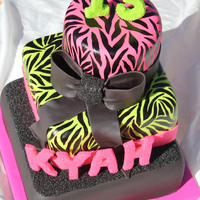 Pink, Green And A Little Bling!  3 tiered chocolate and strawberry cake cevered in fondant. Note to self: The hand painted zebra stripes took a lot longer than I...
