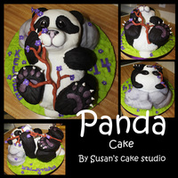 3D Panda I hand carved this panda bear and rock from cake. It is covered with fondant. 3D are my favorite cakes to do :) The birthday girl and her...