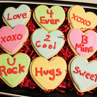 Valentine Cookies   Color flow conversation heart cookies