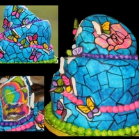 Stained Glass Butterflies Handpainted topsy turvy cake. The birthday girl wanted it to look like the stained glass butterflies were popping out of the glass. This is...