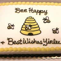 Honey Bees Cake 1/4 Sheet Cake with traditional frosting