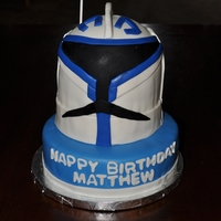 "Star Wars Captain Rex Star wars theme birthday cake made with 8"" round, 6"" rounds and 1/2 ball cake pans."