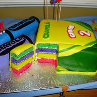 Crayola Crayon Cake Crayola cake made with coloured cake slabs covered in marshmallow fondant. Crayon are made with Rice Krispies shaped into crayons then...
