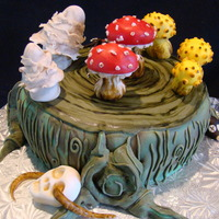 21St Birthday Mushroom Cake   fondant covered sponge cake, mushrooms done in fondant