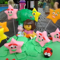 Dora Cake Fondant covered sponge cake, it was too warm to make a figure so a candle was a substitute.