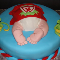 Liverpool Baby Shower Cake   fondant covered cake