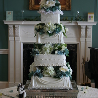 "4 Tier Square Wedding Cake 4 tier square wedding cake-6"",8"",10"", & 12"" all almond vanilla with decorators buttercream and fondant swags. Swags..."