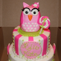 "Sweet Little Pink Owl Birthday Cake two tier -top 6"" chocolate and bottom 8"" almond vanilla all iced in decorators sweet vanilla buttercream with mmf details. Smash..."