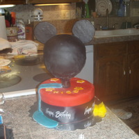 Mickey Mouse Italian cream cake on bottom and gluten free cake for the head. My slide looks like c**p but lesson learned! Birthday boy loved it though...