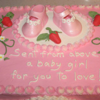 Baby Shower Cake For A Friend Strawberry cake with strawberry filling. Fondant / gumpaste baby shoes, strawberries and flowers. Grandma and mama to be were tickled with...