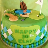 "Golf Birthday Cake   Golf themed cake for a surprise 30th birthday with a golfer trying to ""blow in the ball"" at the 18th hole."
