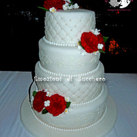 Wedding Red Roses All sugar paste. The Damask pattern is made of white royal icing.