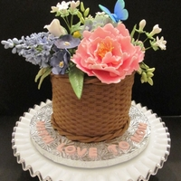 Flower Basket I made this cake for my Mom's birthday. It was a chocolate cake covered in a basket-design of tinted brown fondant. I made all of the...