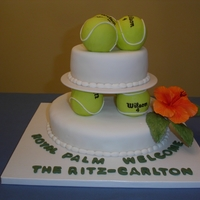 "Tennis Ball Cake  The tennis balls were made by co ering styro balls with colored fondant. The ""Wilson"" logo was hand written on each ball. Wilton..."