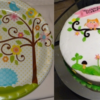 Happi Tree Inspired Butter cream covered pound cake with fondant decor inspired by the happi tree design which was also the theme for the baby shower