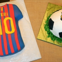 Fcp Soccer Cake Birthday cakes for father and son, both who are fans of the Football Club of Barcelona. Used Wilton classic shirt pan but added extra cake...