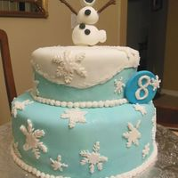 Froen Birthday Cake Frozen inspired cake. Covered in Fondant. Olaf made with fondant hardened with tylose. Mounted on a wood skewer to create the raised leg...