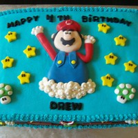 Super Mario Cake White cake w/rasberry buttercream filling. Vanilla butter cream frosting tinted blue. All details fondant and frosting clouds.