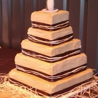 Rustic Wedding Cake   Made to the bride's specifications to match her theme. Almond cakes with almond buttercream.