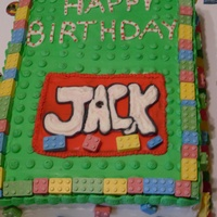 Lego Birthday Cake   I used candies for the border.