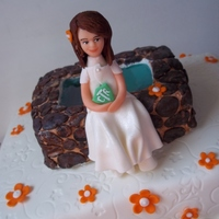 Baptism Cake Made for an eight yr olds baptism. Water is poured sugar. Figure made of fondant. TFL