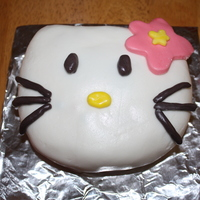 Hello Kitty I made this one just because I'd been craving cake. Vanilla cake with raspberry filling. Fondant decorations.