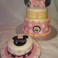 Minnie Birthday Cake This cake was requested, but was asked to make it match her color theme. The cake is vanilla with white Ganache infused in each one. The...