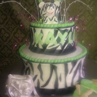 Green And White Zebra Cake This cake was requested by a friend at work. Her daughter loves three things--her zebra piggy bank, her purse, and her flip-flops. I...