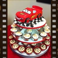 Cars Cupcake Tower Lightening McQueen is RKT covered in fondant