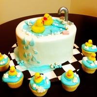 Rubber Duckies Fondant covered cake and accents