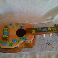 Guitar Chocolate cake with buttercream icing/filling, fondant covered, and hand painted. Thanks for looking!