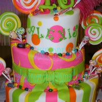Really A Sweet 16 3 tiered topsy turvy covered in fondant. Gumpaste accents & Candy accents. Suckers are gumpaste. 16 toppers is gumpaste. Feathers are...