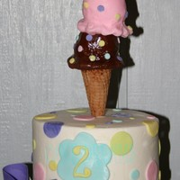 Ice Cream Party Iced in buttercream with gumpaste accents. Ice Cream Cone topper is a sugar cone with fondant ice cream scoopes