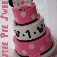 "Minnie Mouse Cake 6"" 8"" & 10"" rounds buttercream & fondant accents TFL :)"