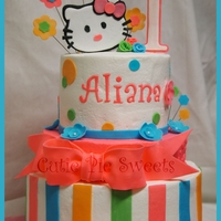 Hello Kitty Cake 6, 8 & 10 inch round middle tier is only one layer. Buttercream frosted fondant & gumpaste decorations. TFL :)